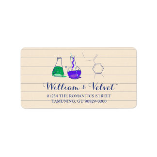 Purple and Green Chemistry Wedding Address Labels