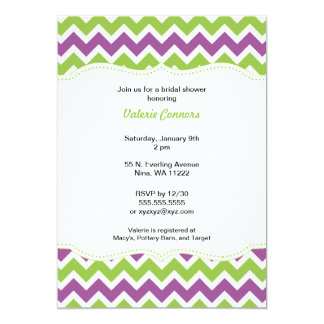 Purple and Green Chevron Bridal Shower or Birthday 5x7 Paper Invitation Card