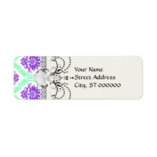 purple and green damask label
