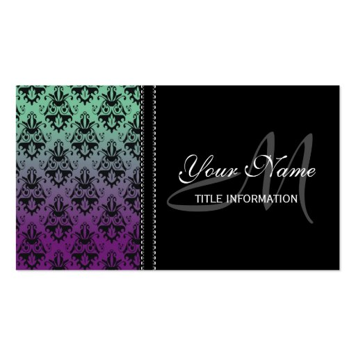 Purple and Green Damask Pattern Business Card Template