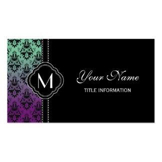 Purple and Green Damask Pattern Business Card
