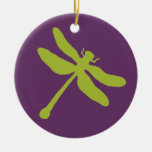 Purple and Green Dragonfly Double-Sided Ceramic Round Christmas Ornament