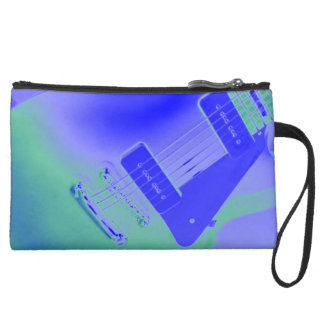 Purple and Green Electric Guitar Wristlet Purse