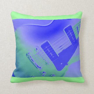 Purple and Green Electric Guitar Pillow