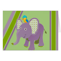 Purple and Green Elephant With Stripes Card