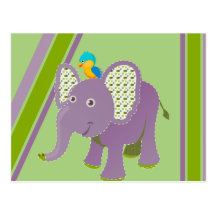 Purple and Green Elephant With Stripes Post Card