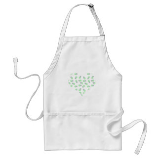 Purple and green feather watercolour love heart adult apron