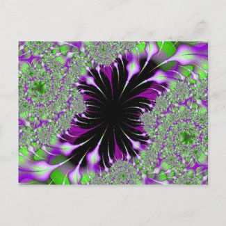 purple and green feathers fractal postcard