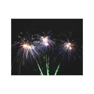 Purple and Green Fireworks Canvas Print