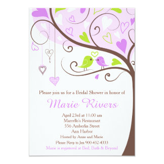 Purple and Green Floral Bird Bridal Shower Card