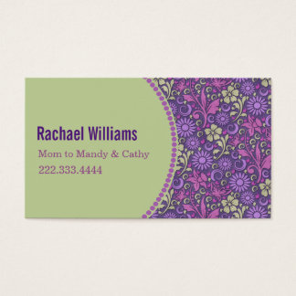 Purple and Green Floral Mommy Play Date Card