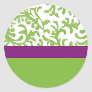 Purple and Green Floral Pattern Classic Round Sticker