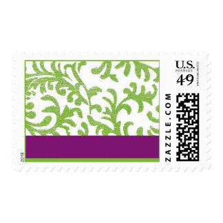 Purple and Green Floral Pattern Postage Stamps
