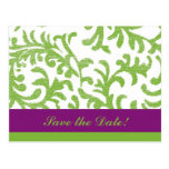Purple and Green Floral Pattern Postcard