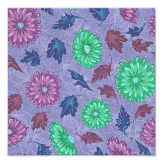 Purple and Green Floral Print Photo Print