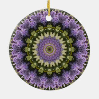 "Purple and Green Floral ""Purple Lilac"" Mandala Double-Sided Ceramic Round Christmas Ornament"