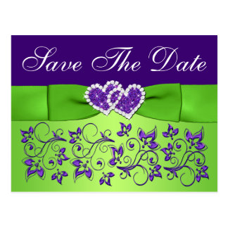 Purple and Green Floral Save the Date Postcard