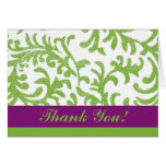 Purple and Green Floral Thank You Card