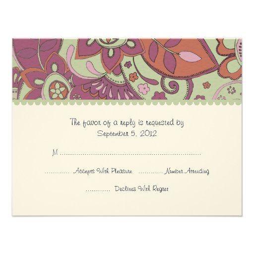 Purple and Green Floral Wedding RSVP Personalized Invite