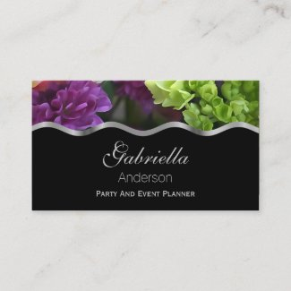 Purple And Green Flower Business Cards