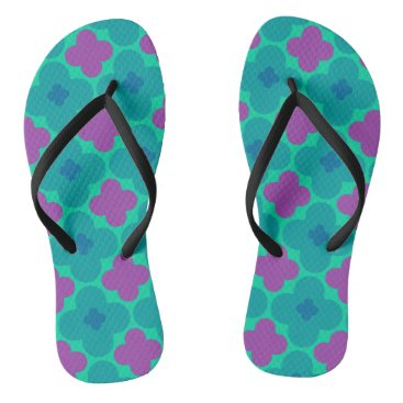 Beach Themed Purple and Green Flower Power Flip Flops