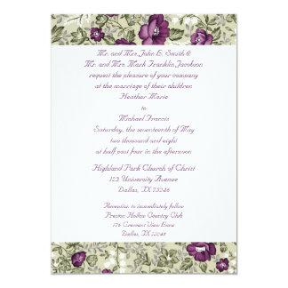 Purple and Green Flower Wedding Invitation