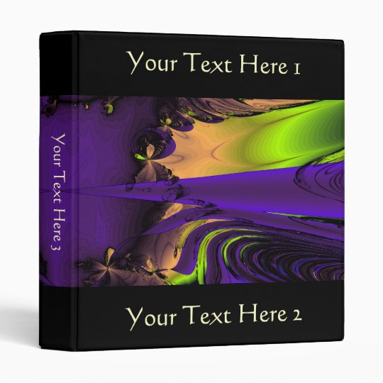 Purple and Green Funky Fractal Art. Binder