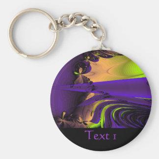 Purple and Green Funky Fractal Art. Key Chain