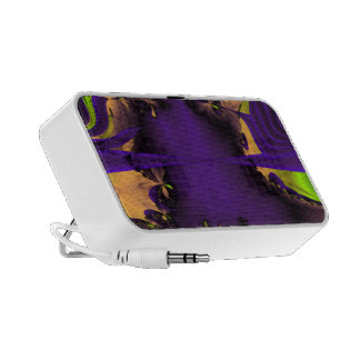 Purple and Green Funky Fractal Art. Portable Speakers
