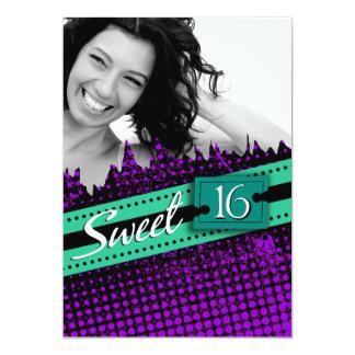 Purple and Green Funky Sweet 16 Birthday Photo Card