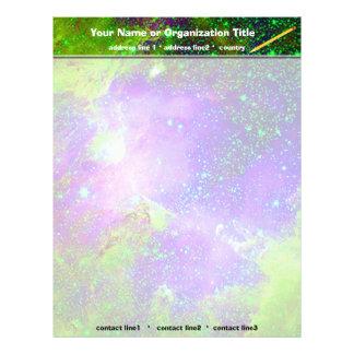 purple and green Galaxy Nebula space image. Letterhead