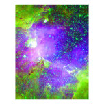 purple and green Galaxy Nebula space image. Letterhead Design