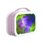 purple and green Galaxy Nebula space image. Lunchboxes