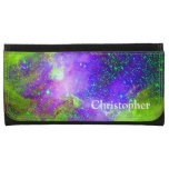 purple and green Galaxy Nebula space image. Leather Wallet