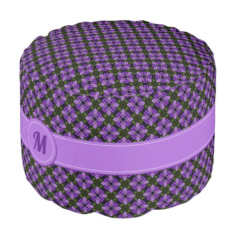 Purple And Green Geometric Pattern with Monogram Pouf