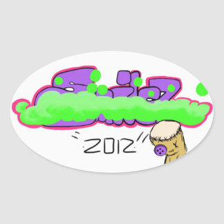 Purple and Green graffiti Sticker