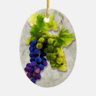 Purple and Green Grapes Christmas Ornaments