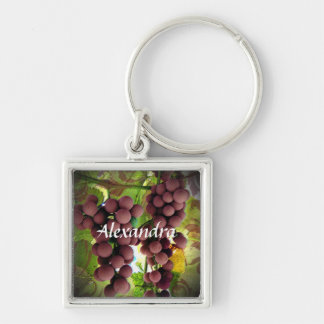 Purple and Green Grapes Vineyard Personalized Name Silver-Colored Square Keychain