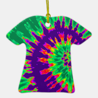 Purple and Green Groovy Tie Dye T-Shirt Ornament