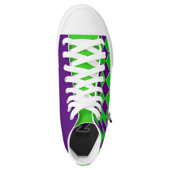[Purple and Green] Harlequin Checkered Sneakers