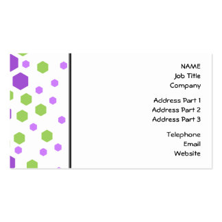 Purple and Green Hexagon Spots. Business Cards