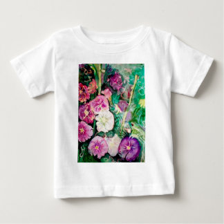 Purple and Green Hollyhocks Watercolor Painting Baby T-Shirt