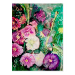 Purple and Green Hollyhocks Watercolor Painting Post Cards