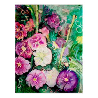 Purple and Green Hollyhocks Watercolor Painting Postcard