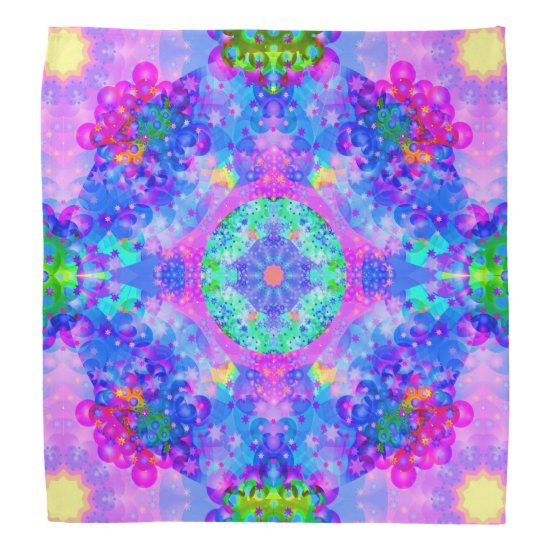 Purple and Green Kaleidoscope Fractal Art Bandana