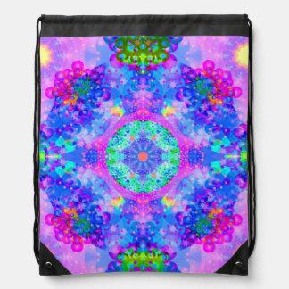 Purple and Green Kaleidoscope Fractal Art Drawstring Backpack