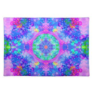 Purple and Green Kaleidoscope  Fractal Art Placemats