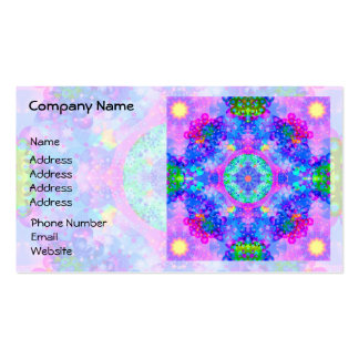 Purple and Green Kaleidoscope Fractal Business Card