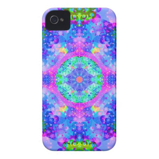 Purple and Green Kaleidoscope Fractal Blackberry Bold Covers