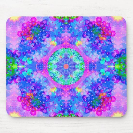 Purple and Green Kaleidoscope Fractal Mouse Pad